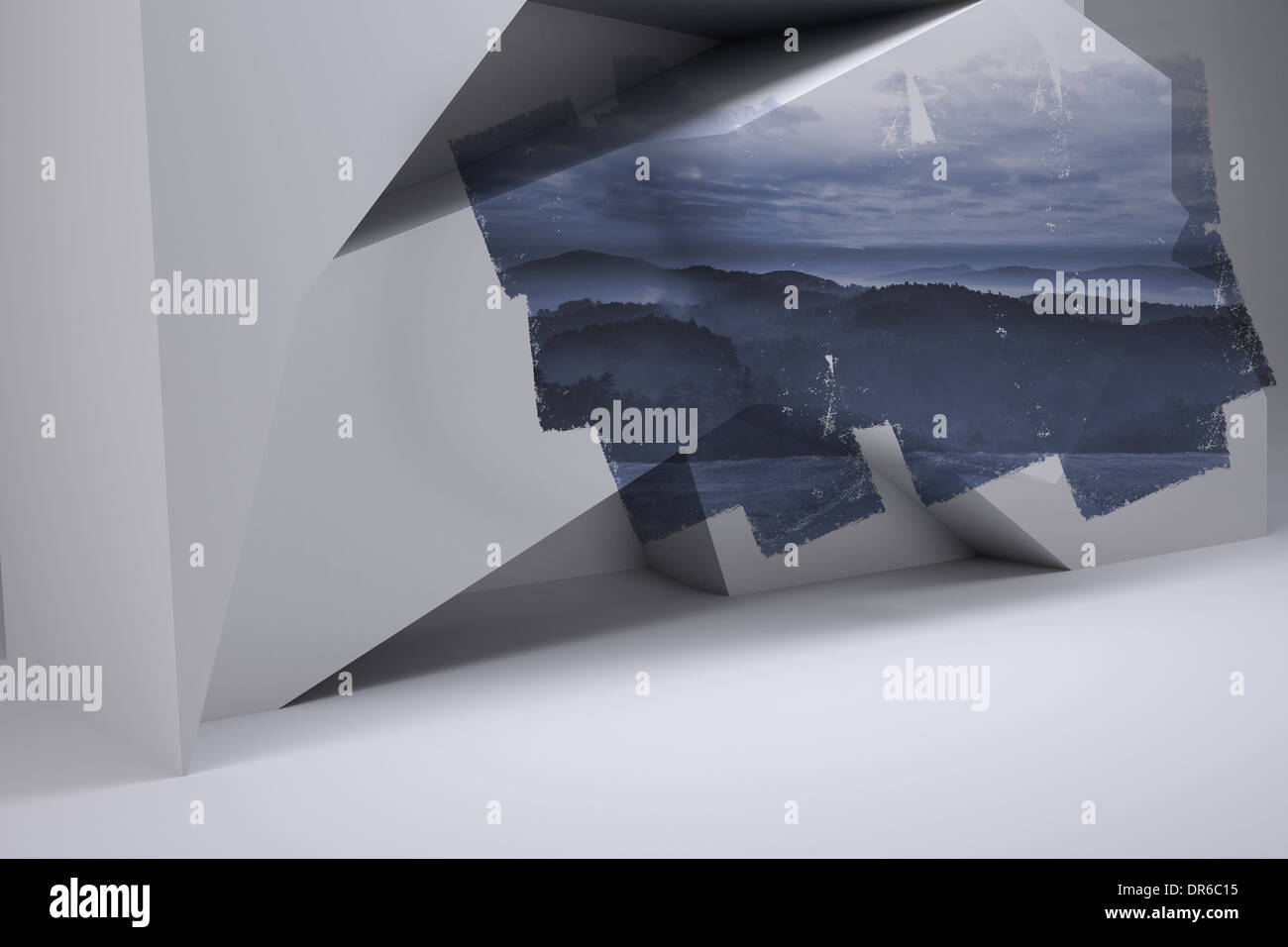 Abstract screen in room showing mountain Stock Photo
