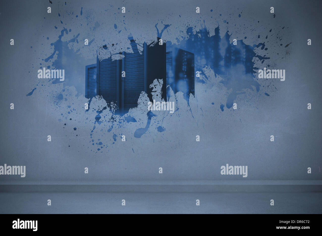Splash showing server towers - Stock Image