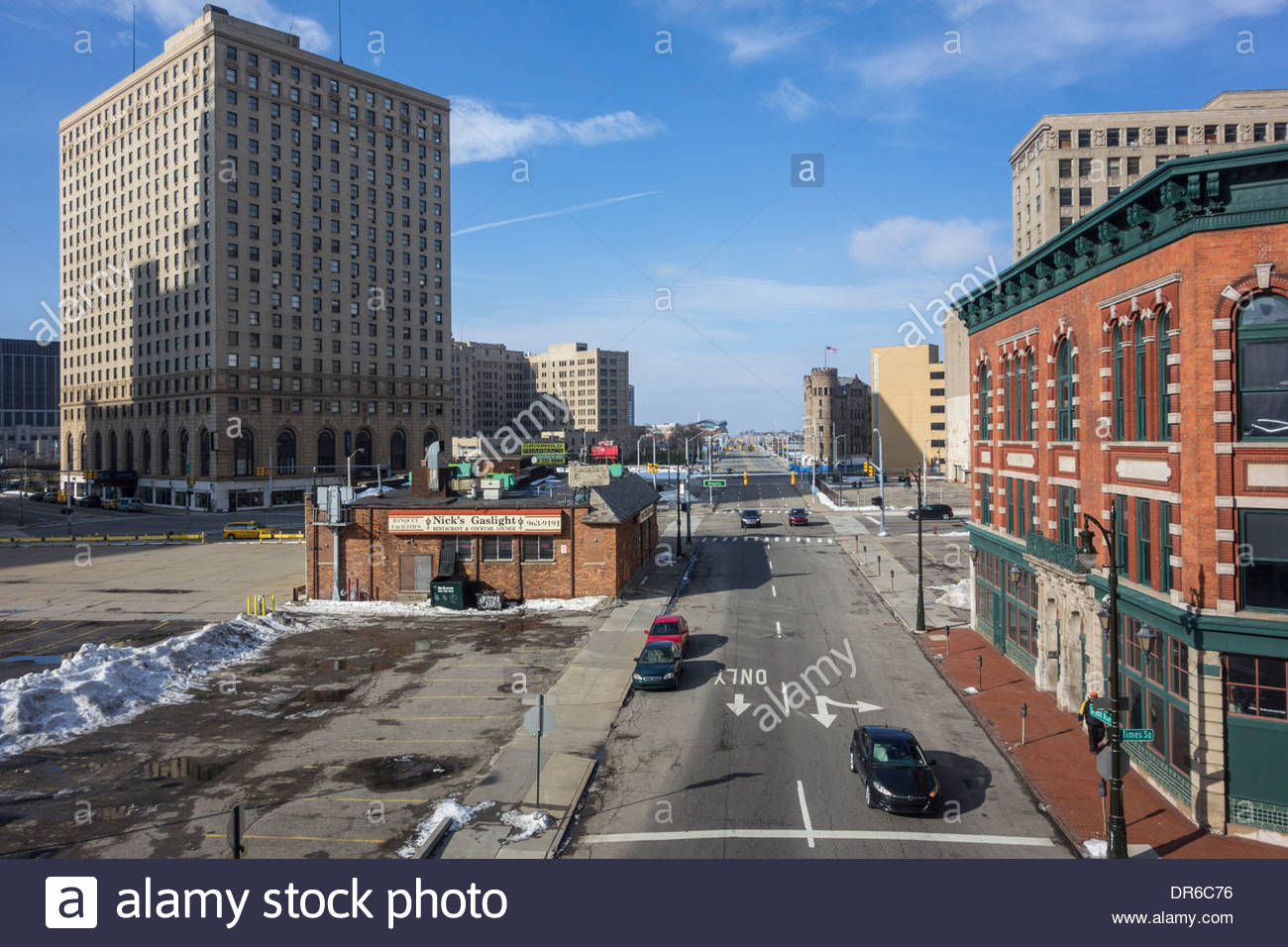 Nick's Gaslight Restaurant at W. Grand Boulevard in downtown Detroit, Michigan and Grand River Avenue - Stock Image