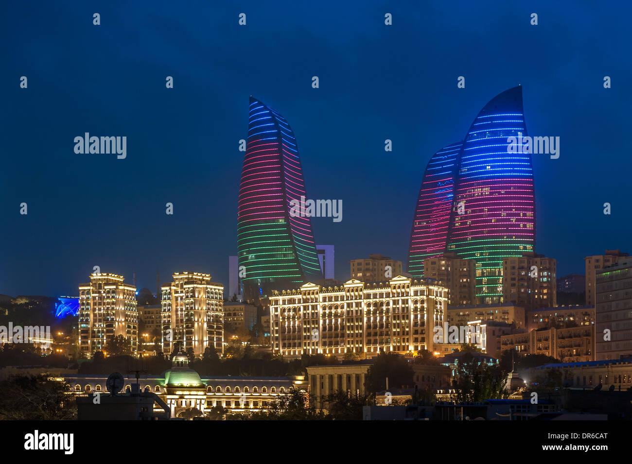 Flame Towers Baku Azerbaijan - Stock Image