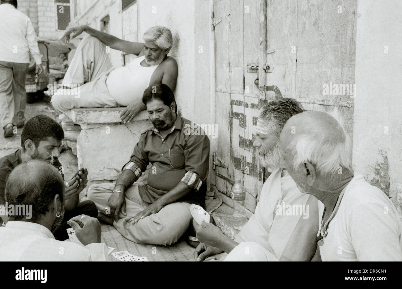 Street life in Brahmpur Brahmpuri Blue City old town in Jodhpur in Rajasthan in India in South Asia. Reportage People - Stock Image
