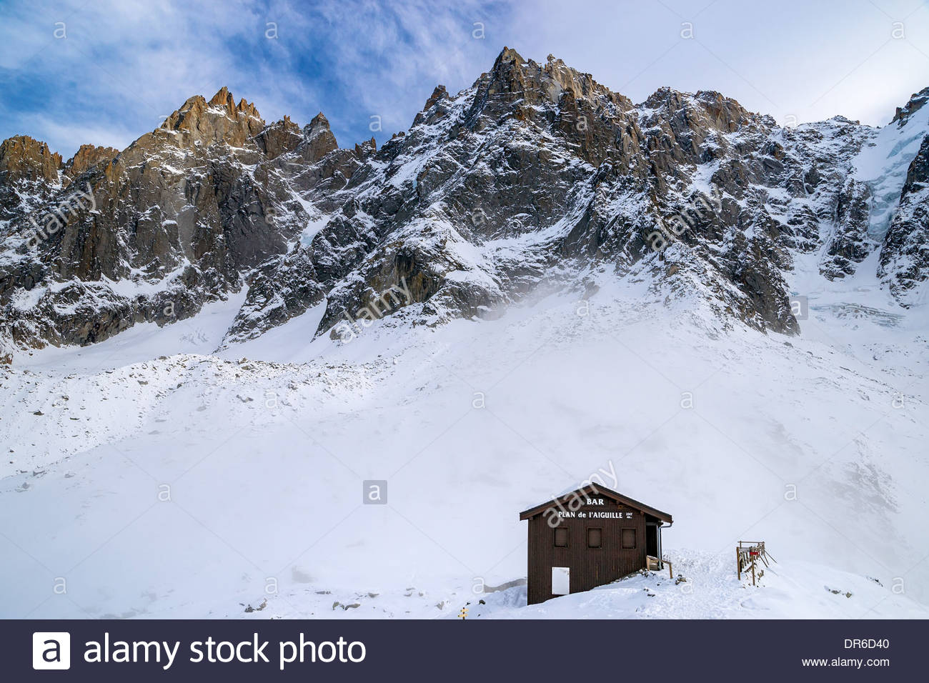 Bar du Plan de l'Aiguille (2317m) reached by the Aiguille du Midi Mont-Blanc cable car in Chamonix (France) - Stock Image