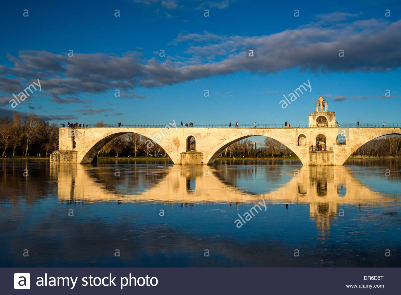 Pont Saint Benezet (known as the Pont d'Avignon) on the River Rhone - Avignon - France - Stock Image