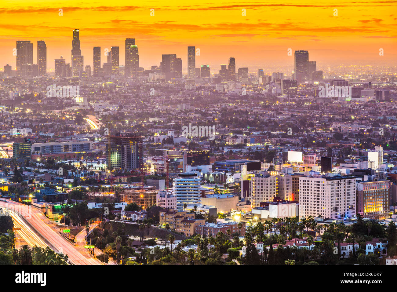 Los Angeles, California, USA early morning downtown cityscape. - Stock Image