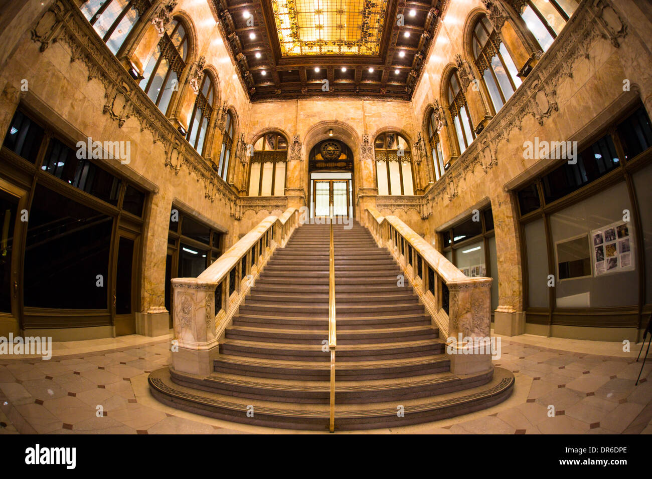 Beautiful lobby interior with staircase in historic Chrysler Building in New York City seen on November 9 2013 - Stock Image