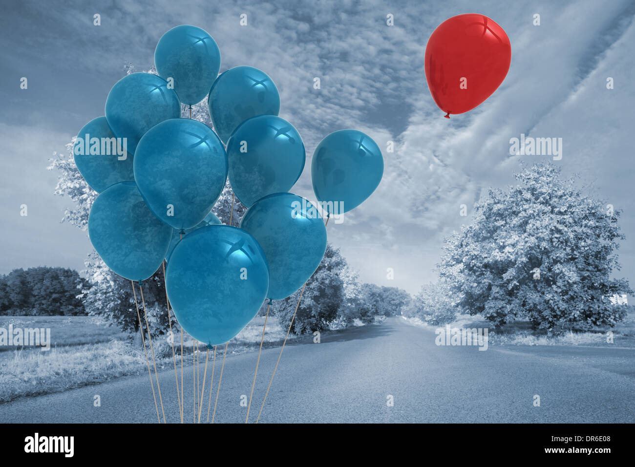 Balloons above a road - Stock Image