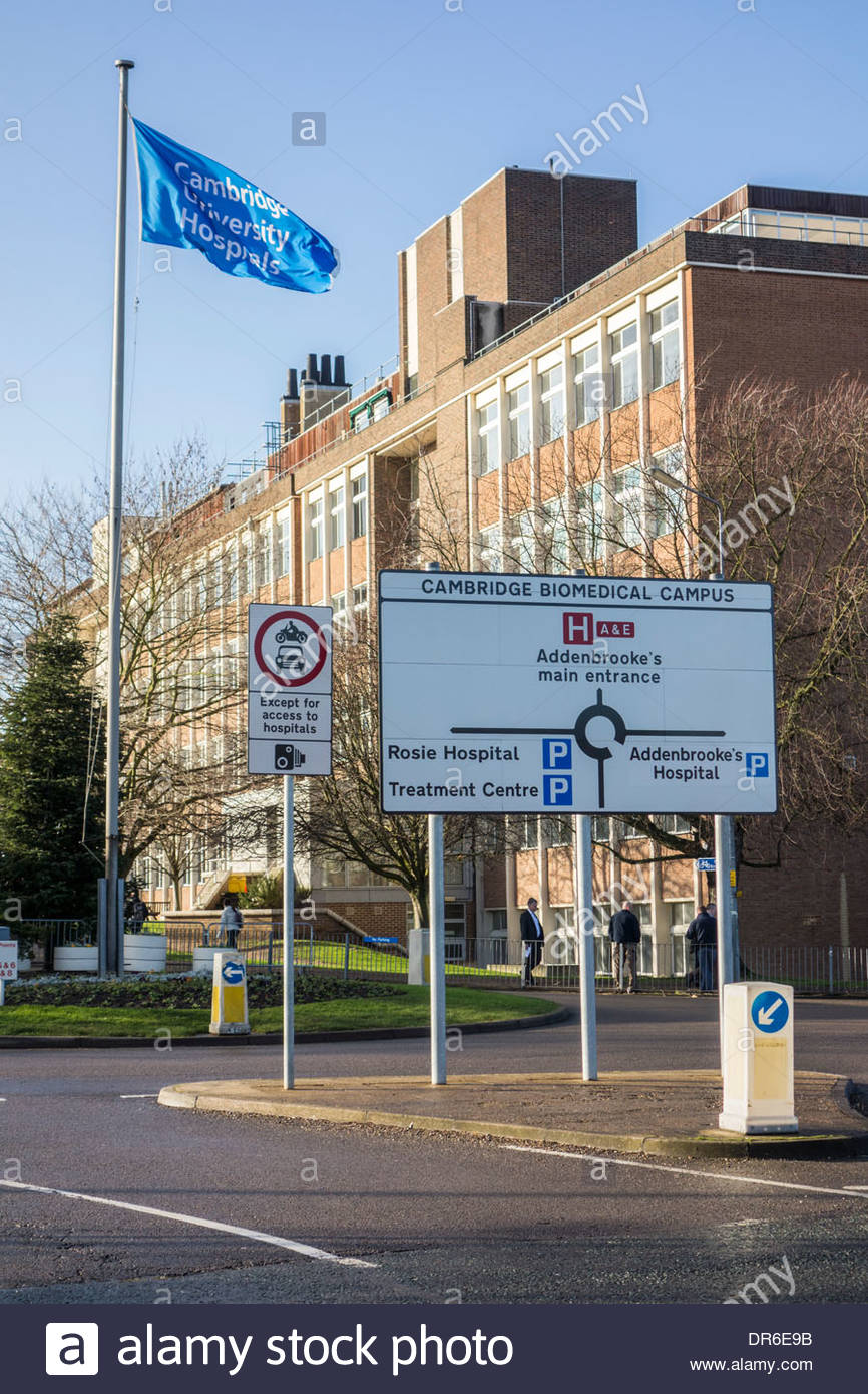 Sign for the Cambridge Biomedical Campus at Addenbrookes Hospital, Cambridge, England - Stock Image