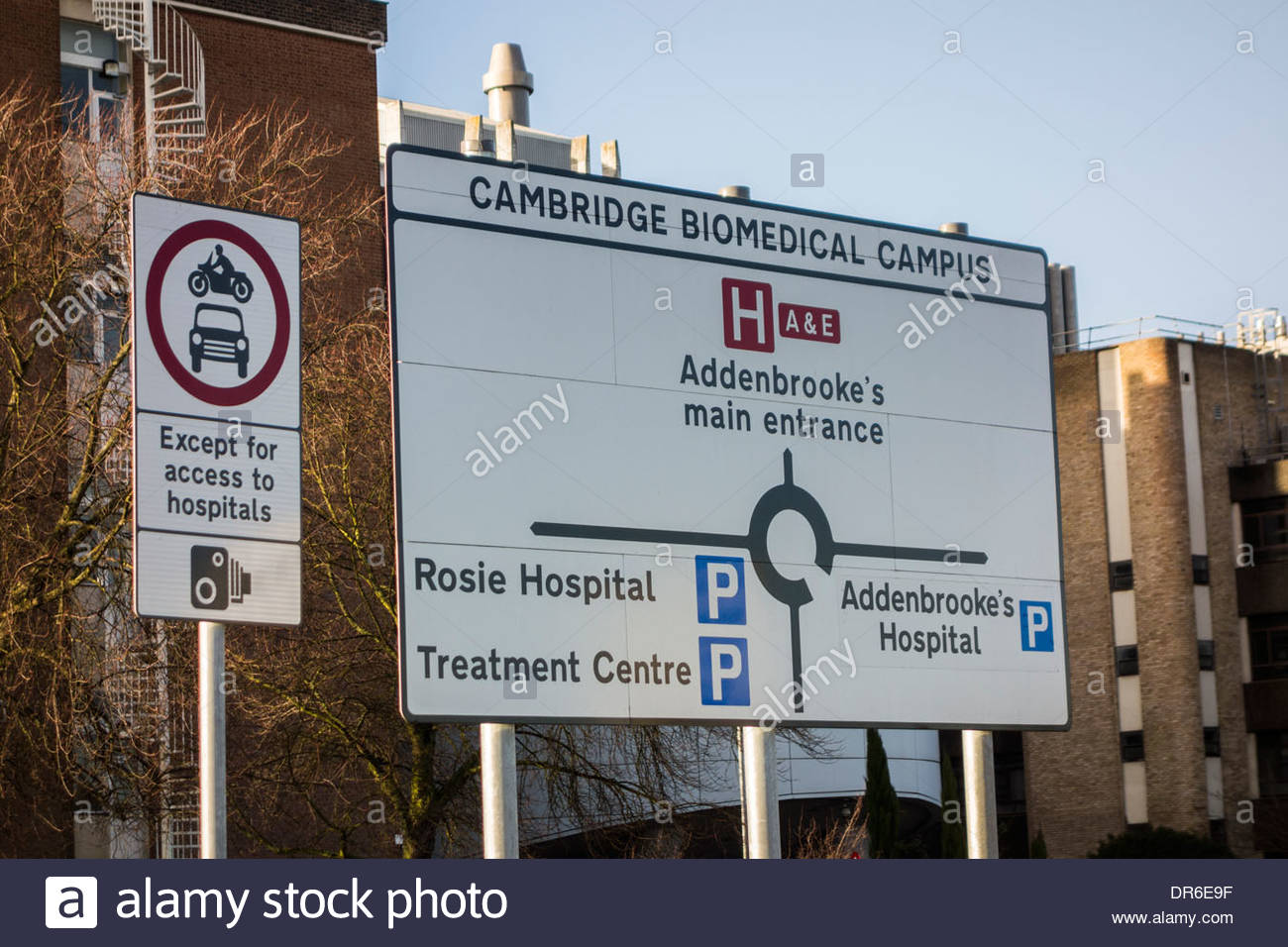 Sign for the Cambridge Biomedical Campus at Addenbrookes Hospital, Cambridge, England, UK - Stock Image