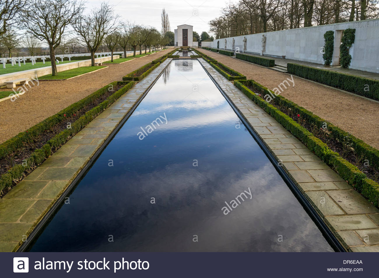 The reflecting pool at the American Cemetery, Madingley, Cambridge - Stock Image