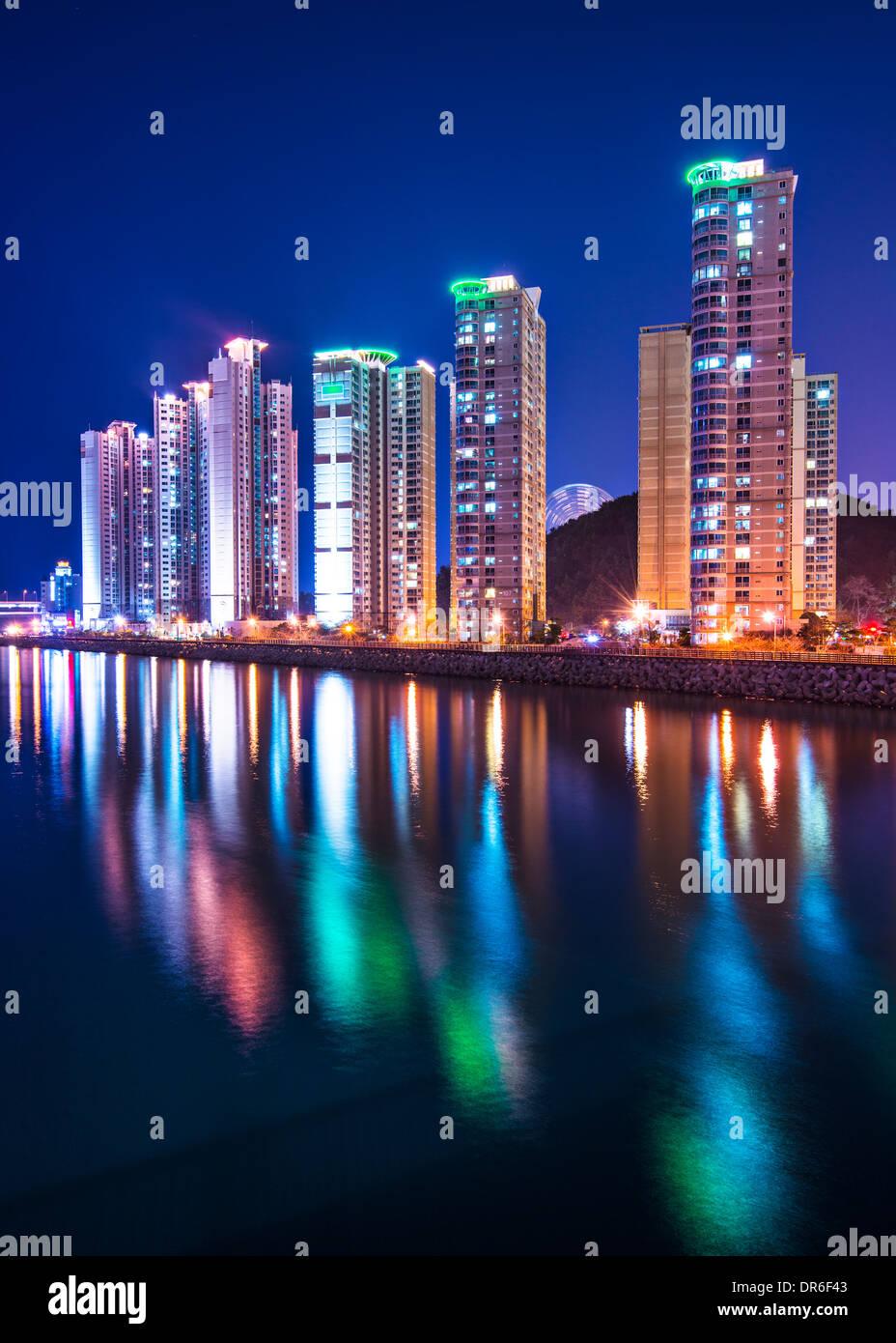 Busan, South Korea luxury high rise apartments. - Stock Image