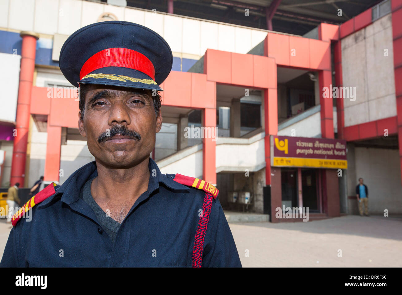 A security guard outside the Delhi Metro, Delhi, India. - Stock Image