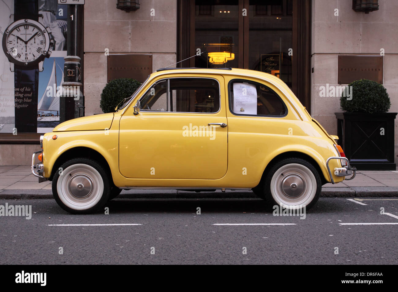 Fiat 500 car 1972 model refurbished and for sale in Mayfair London England UK - Stock Image