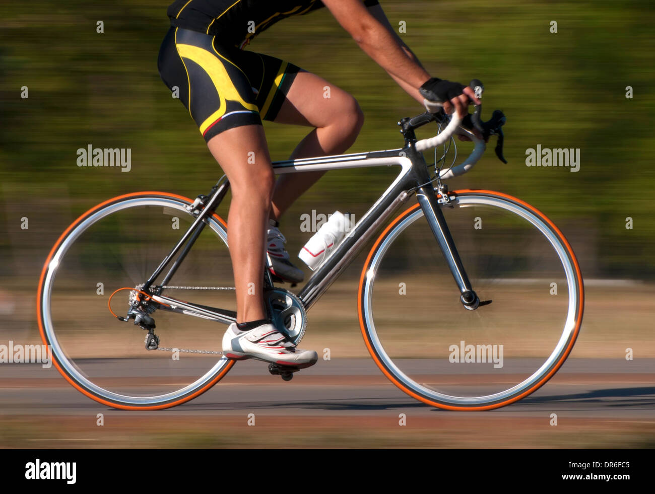 Cycling activity in blurred motion - Stock Image