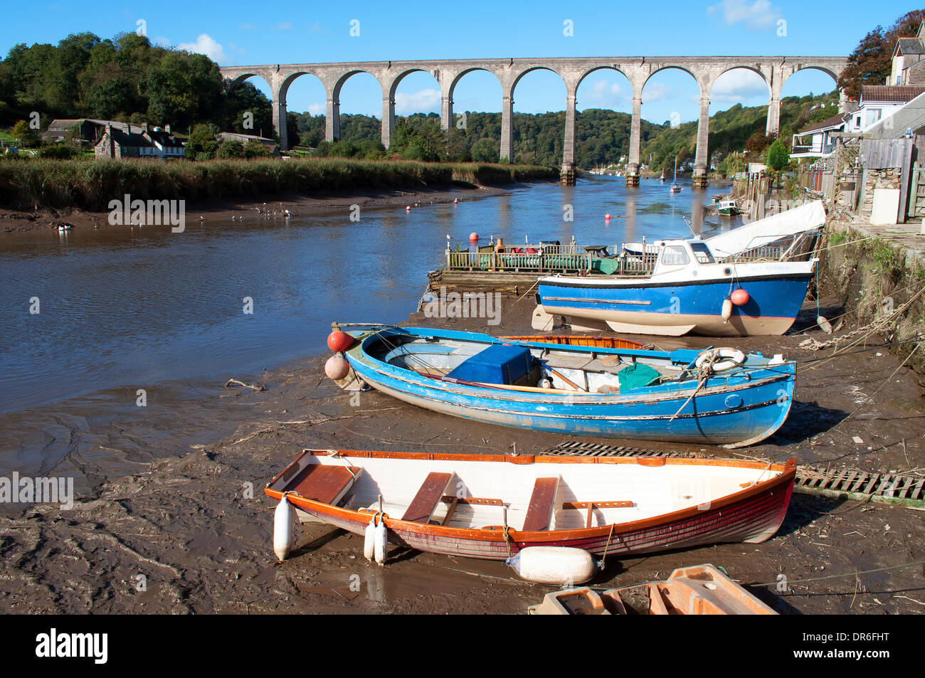small boats moored on the river tamar near calstock in cornwall, uk Stock Photo