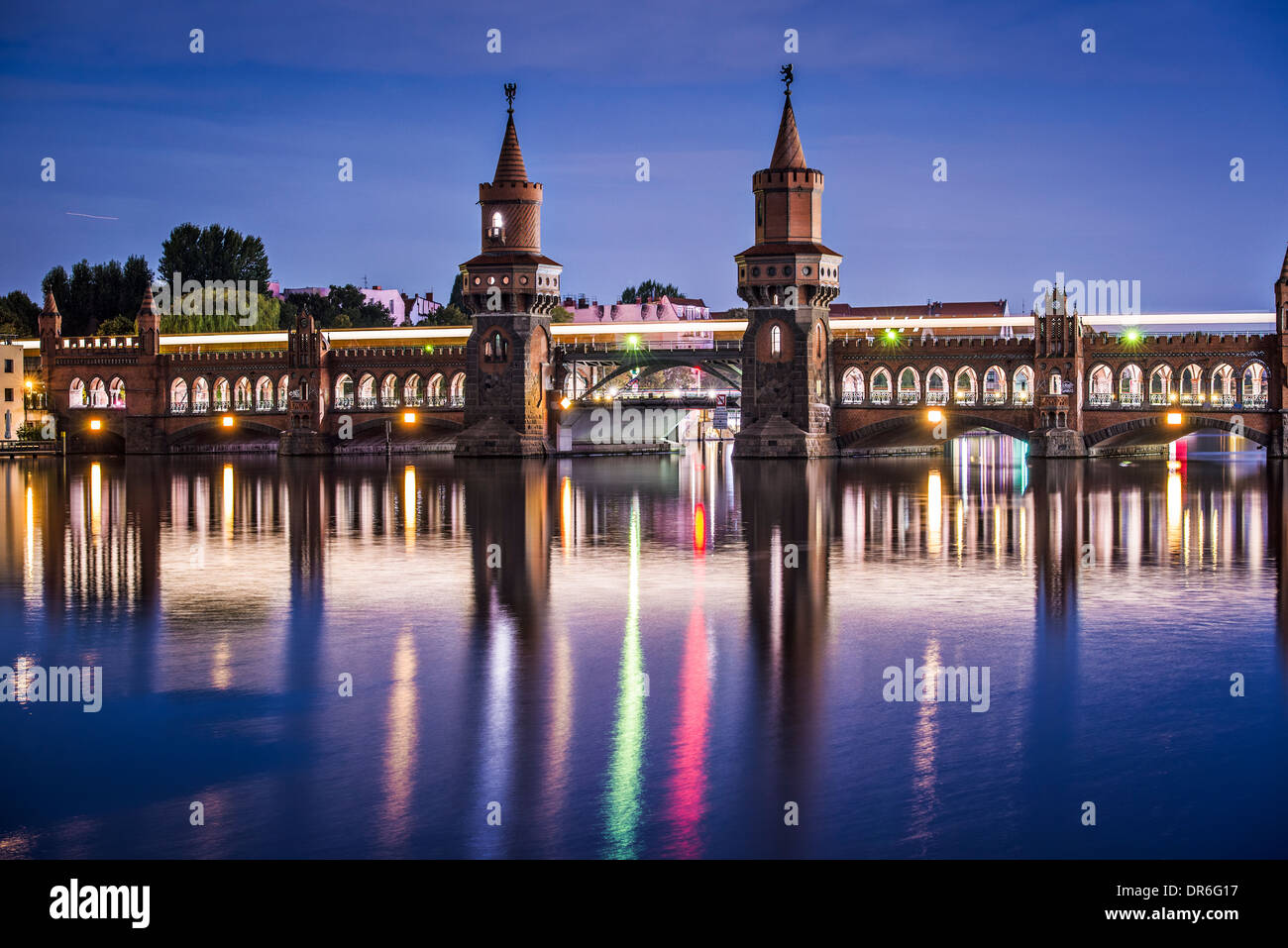 Berlin, Germany at the Oberbaum Bridge over the Spree River. Stock Photo