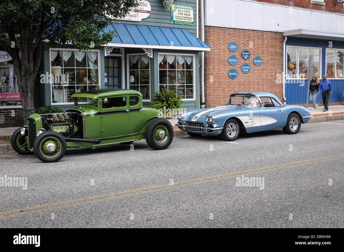 1930 Model A Ford Hot Rod and 1959 Corvette, Havre de Grace ...