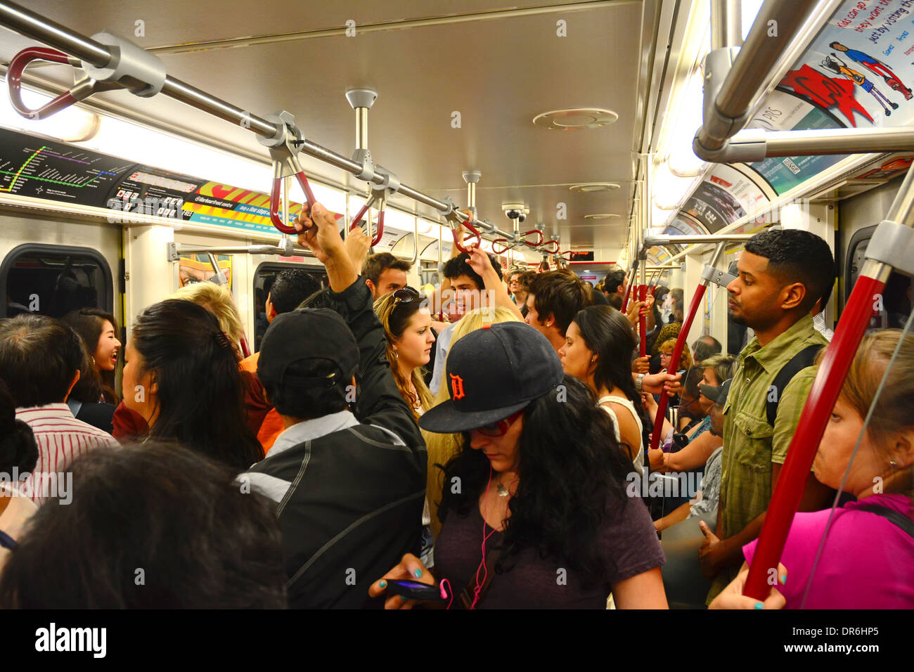 Subway rush hour passengers, Toronto - Stock Image