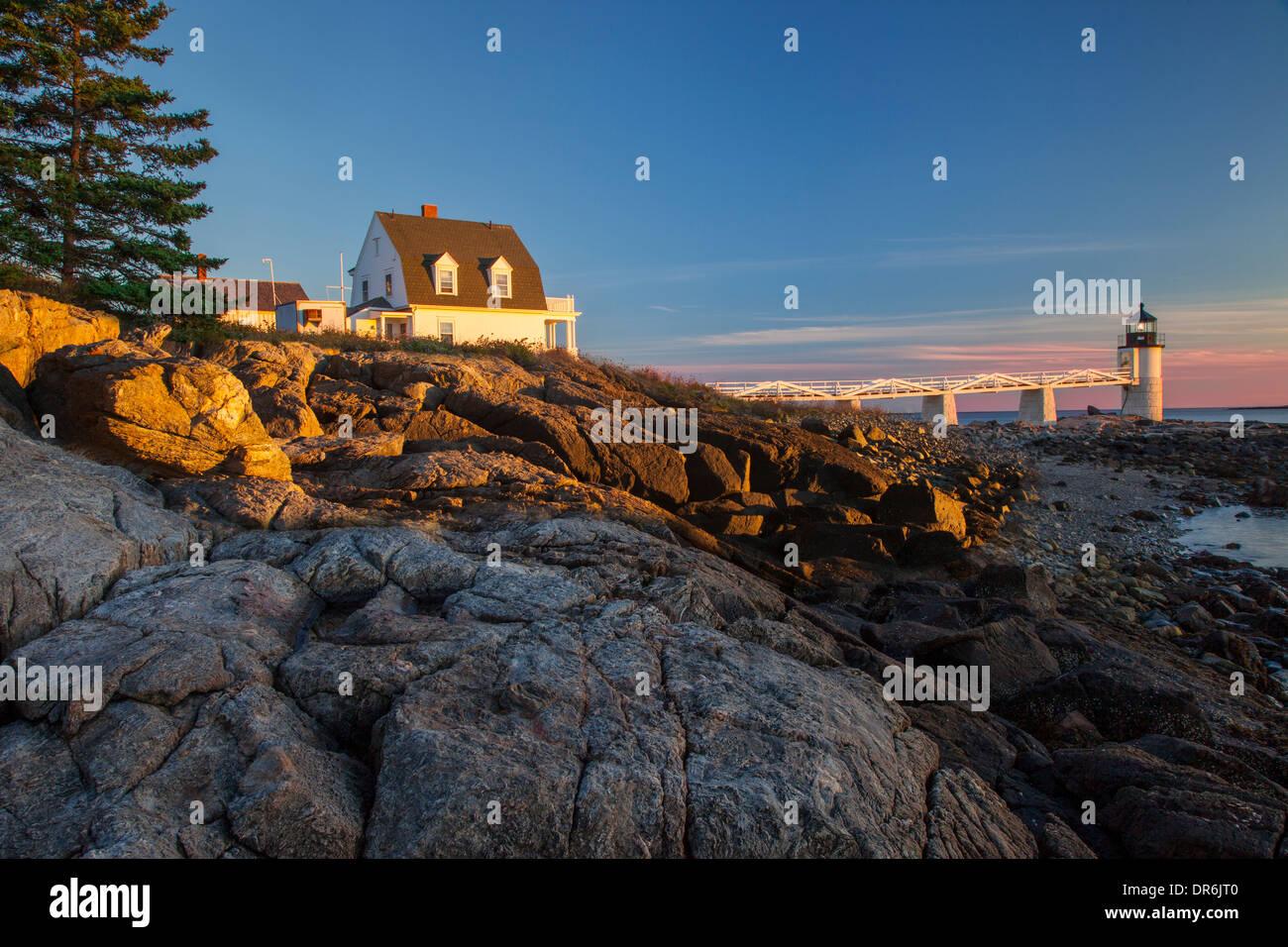 Sunset over Marshall Point Lighthouse near Port Clyde, Maine, USA - Stock Image