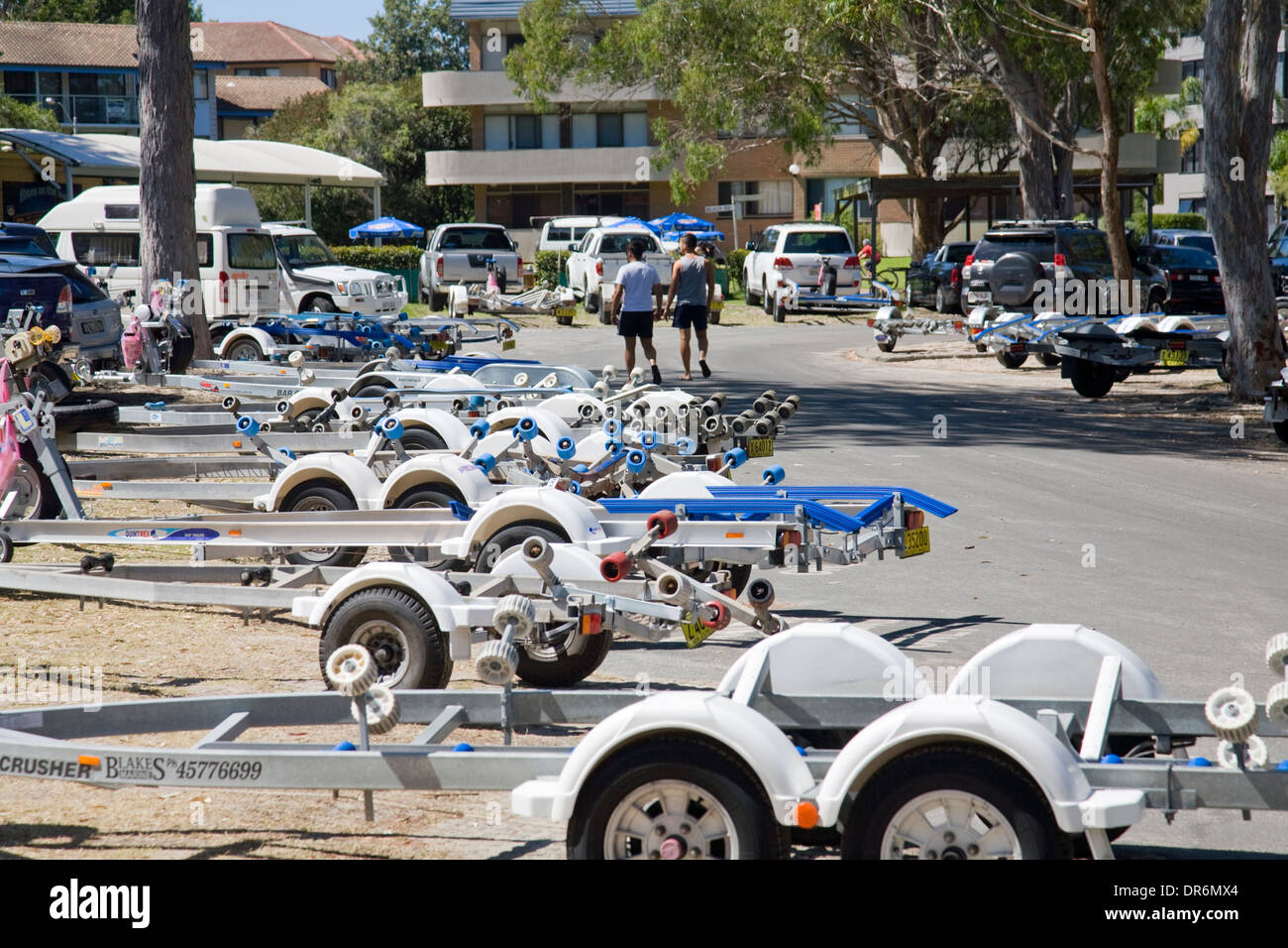 boat trailer park in nelson bay,new south wales,australia Stock Photo