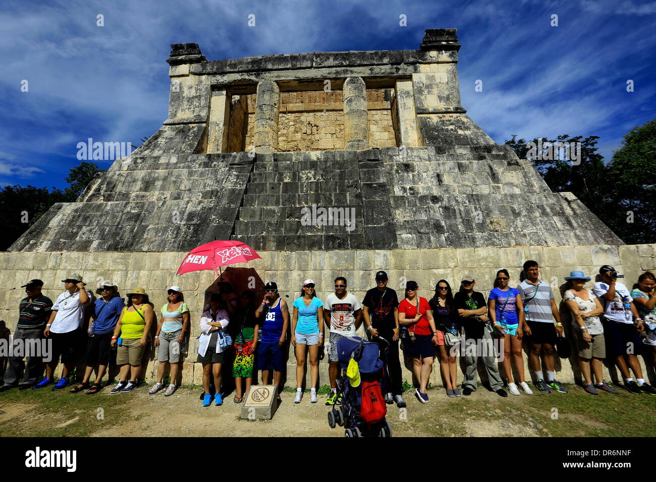 Chichen Itza, Yucatan, Mexico. 13th Jan, 2014. Tourists visit Kukulkan pyramid in the Chichen itza city, this pyramid Stock Photo