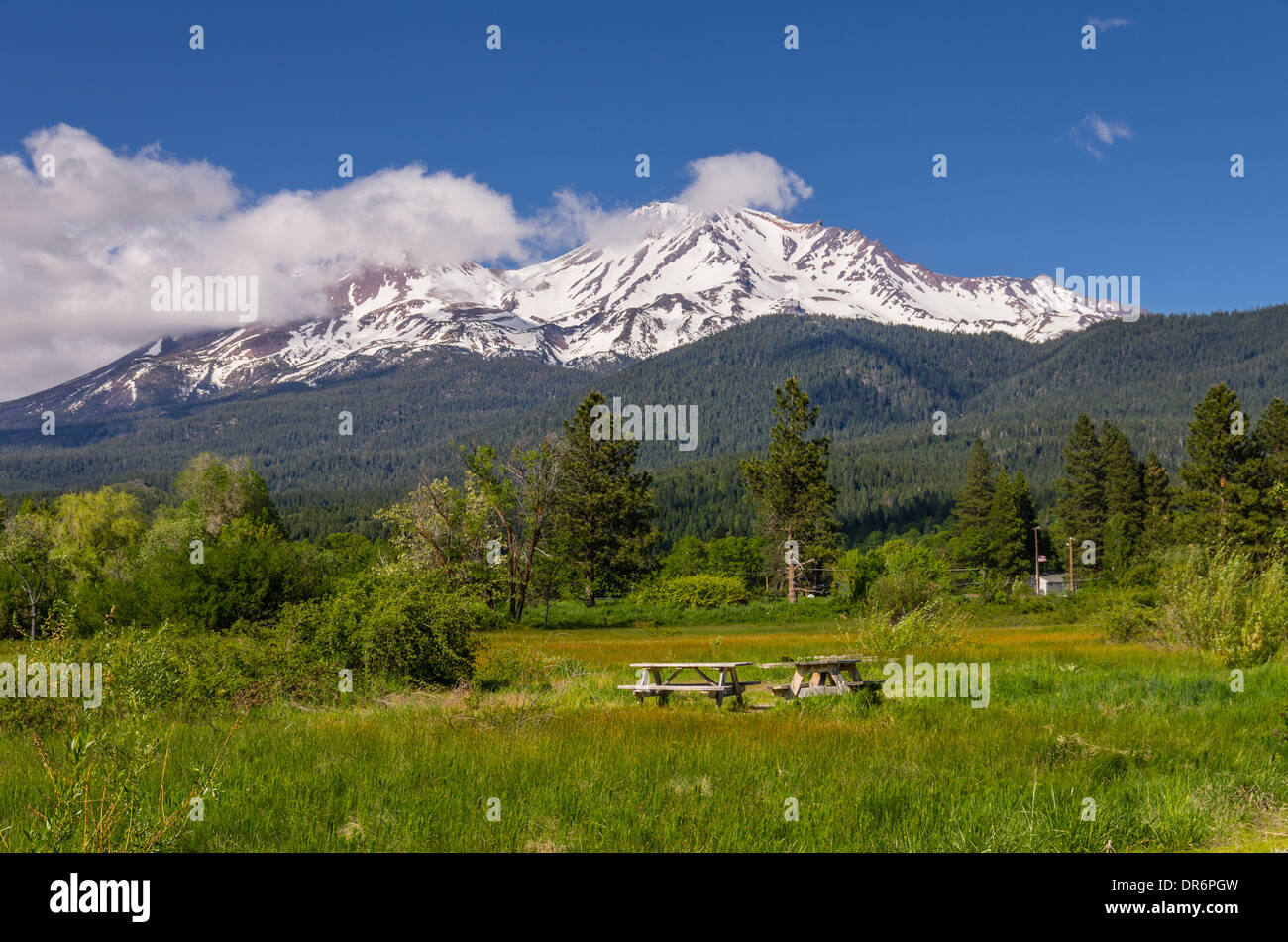 View of Mt Shasta showing picnic tables in a park.  Mount Shasta, California - Stock Image