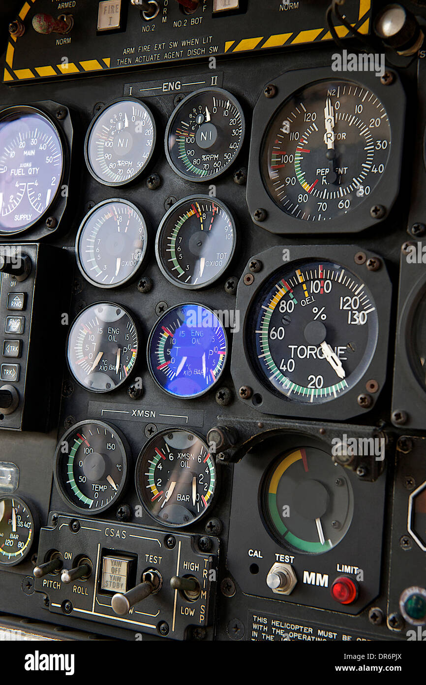 Dash board of helicopter - Stock Image
