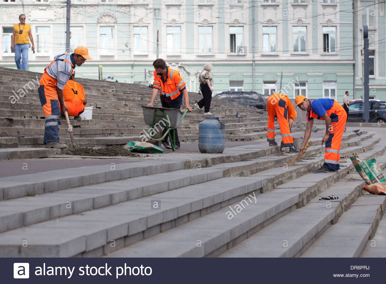 Manual workers working o stairs, Russian State Library, Moscow, Russia - Stock Image