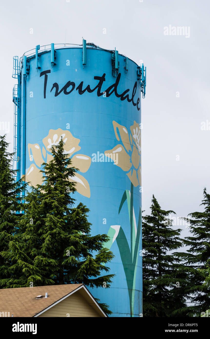 Water Storage Tank Also Called A Water Tower Painted With Flowers. Troutdale,  Oregon
