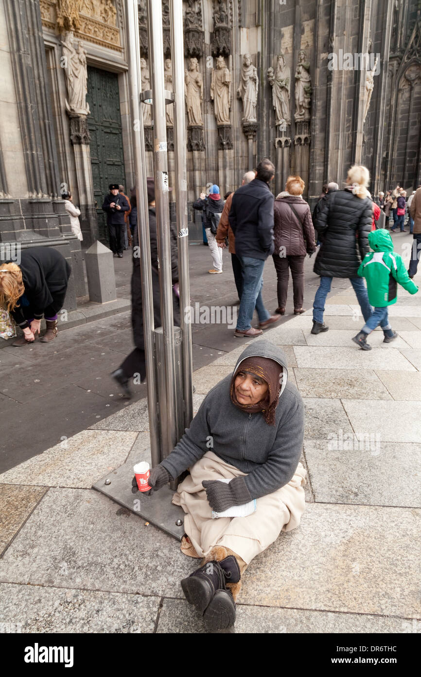 Homeless people begging on the street, poverty, Cologne ( Koln ), Germany Europe - Stock Image