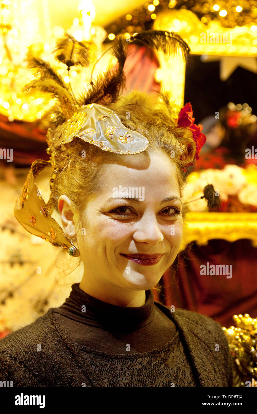 Christmas market, Cologne, Young german woman stallholder, Cologne ( Koln ), Germany Europe - Stock Image