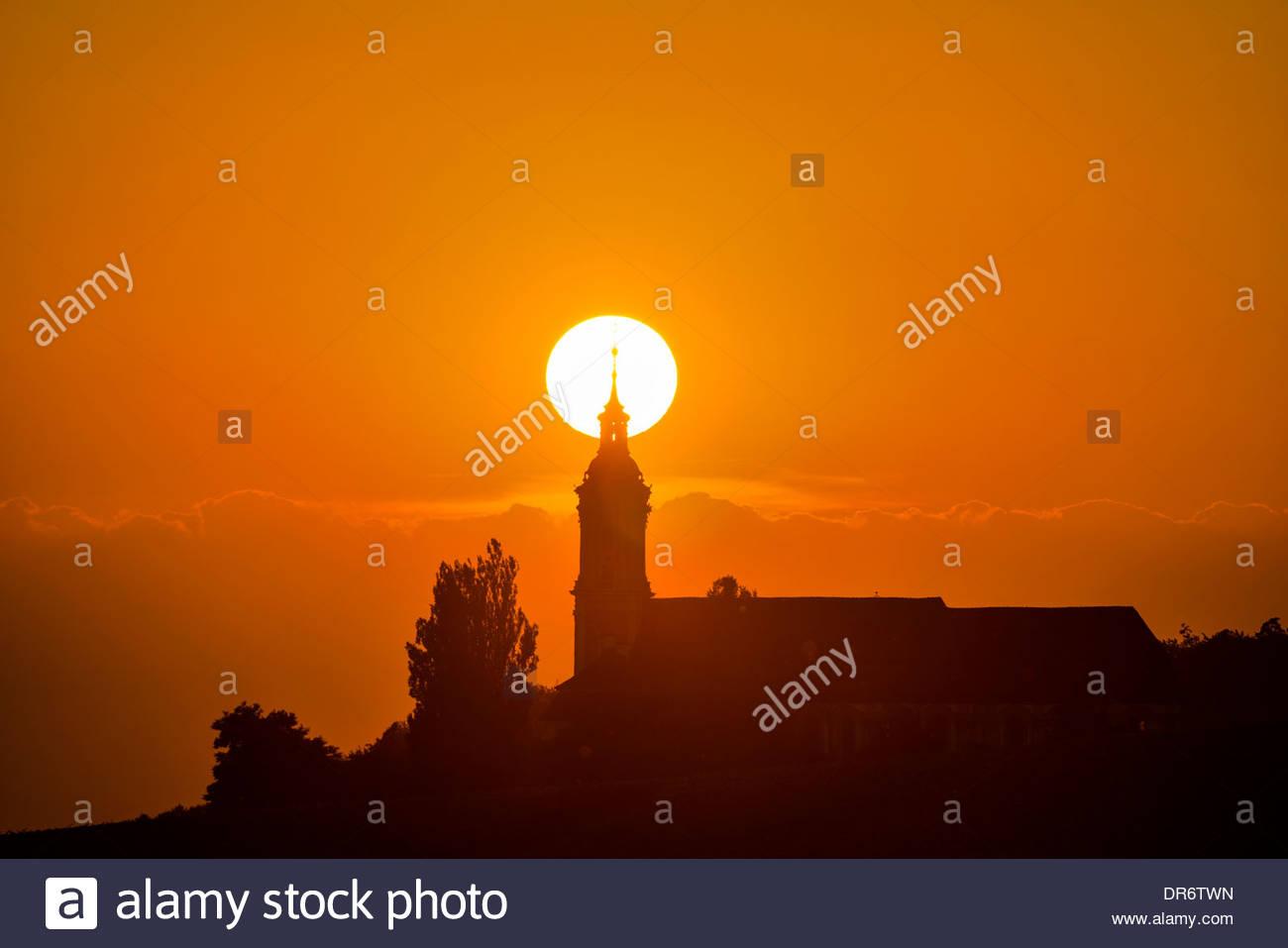 Germany, Baden-Wurttemberg, Birnau, Baroque church at sunset - Stock Image