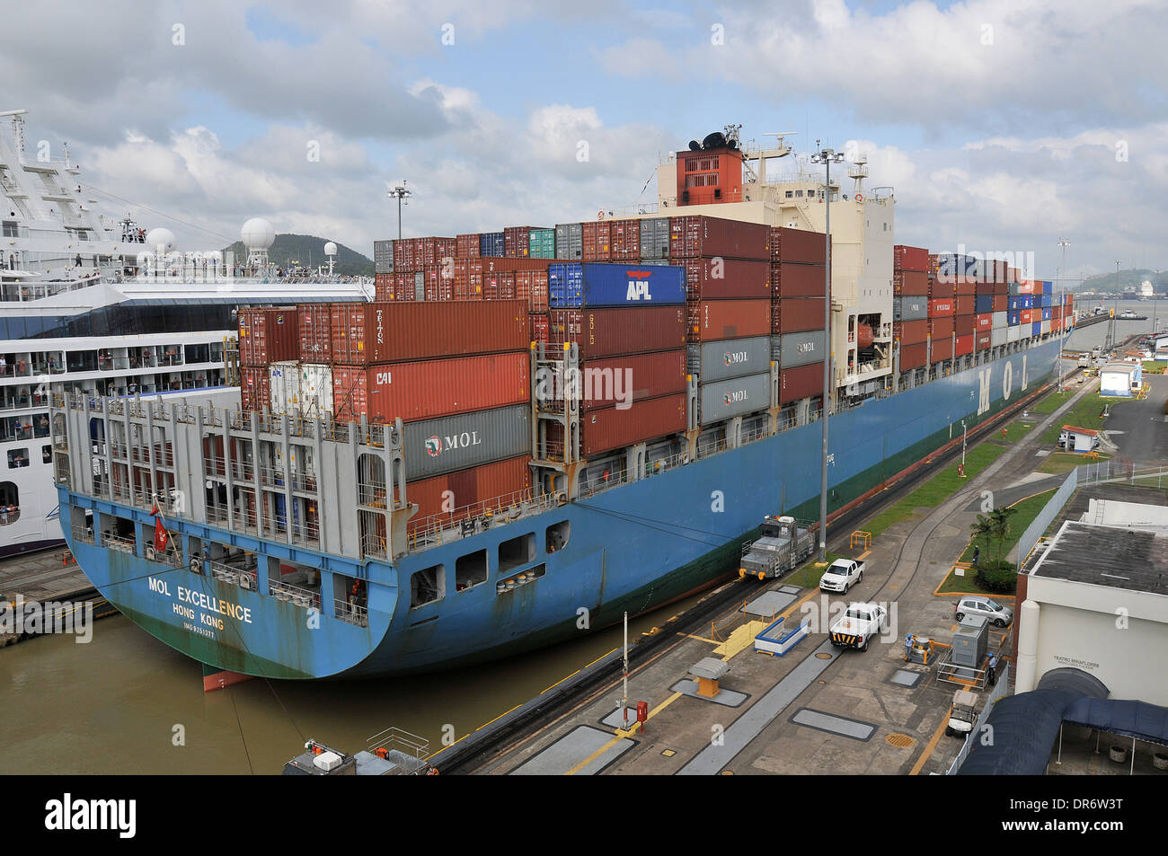 Mol Excellence ship in Panama canal Miraflores - Stock Image