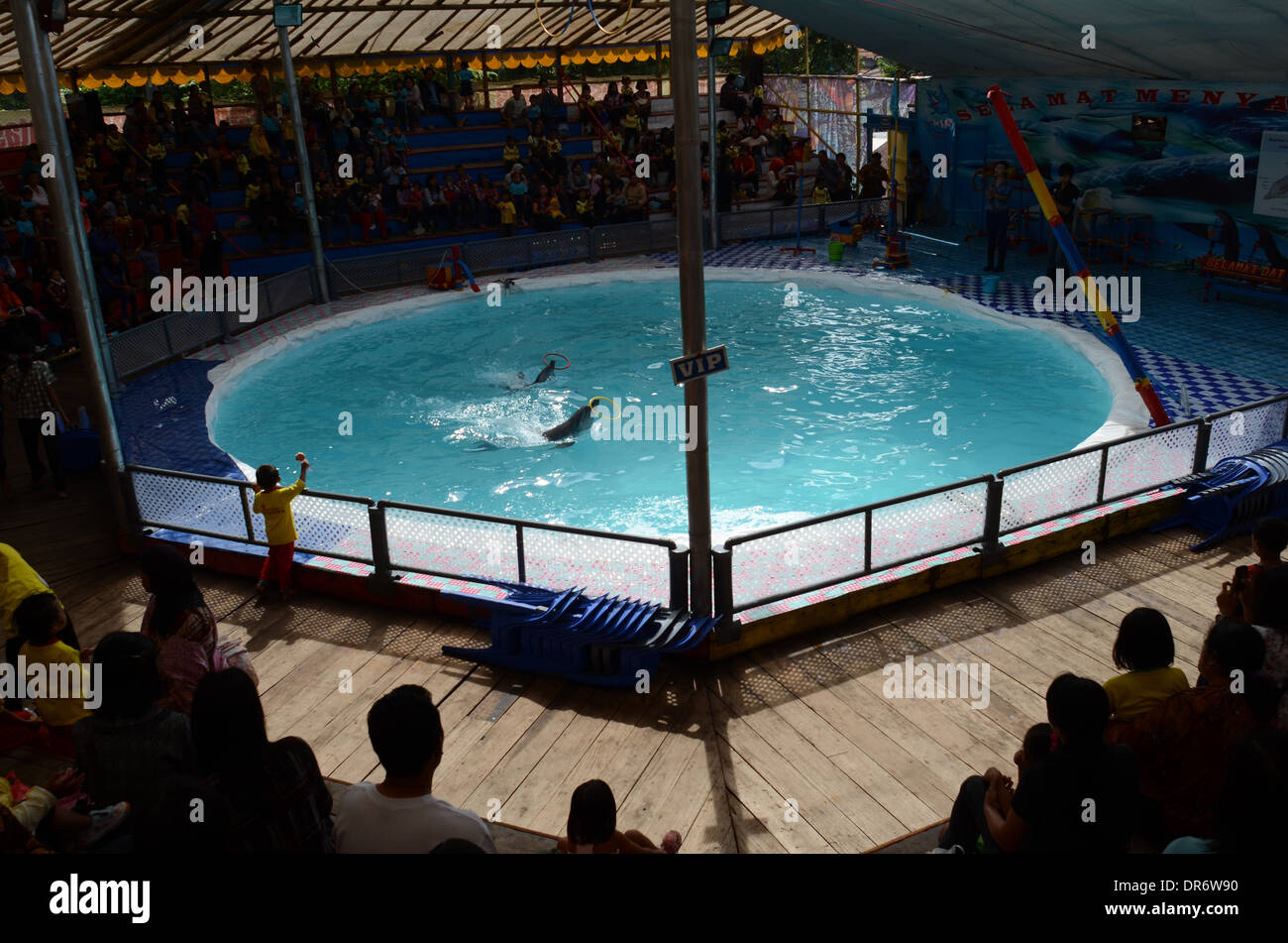 Spectators watching the show at a travelling dolphin circus in Kediri, East Java, Indonesia. - Stock Image