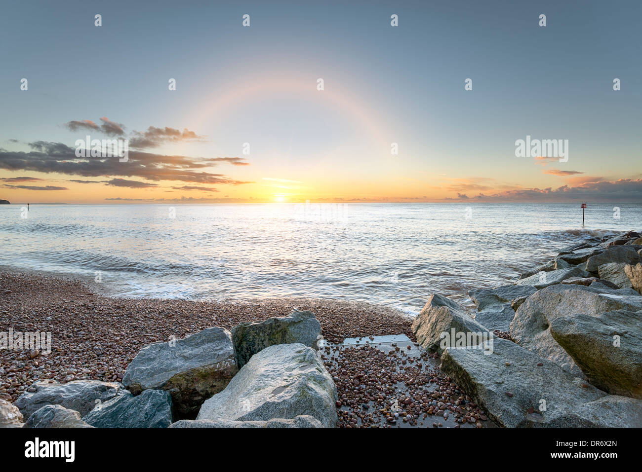 The beach and shoreline at Sidmouth on the south coast of Devon - Stock Image
