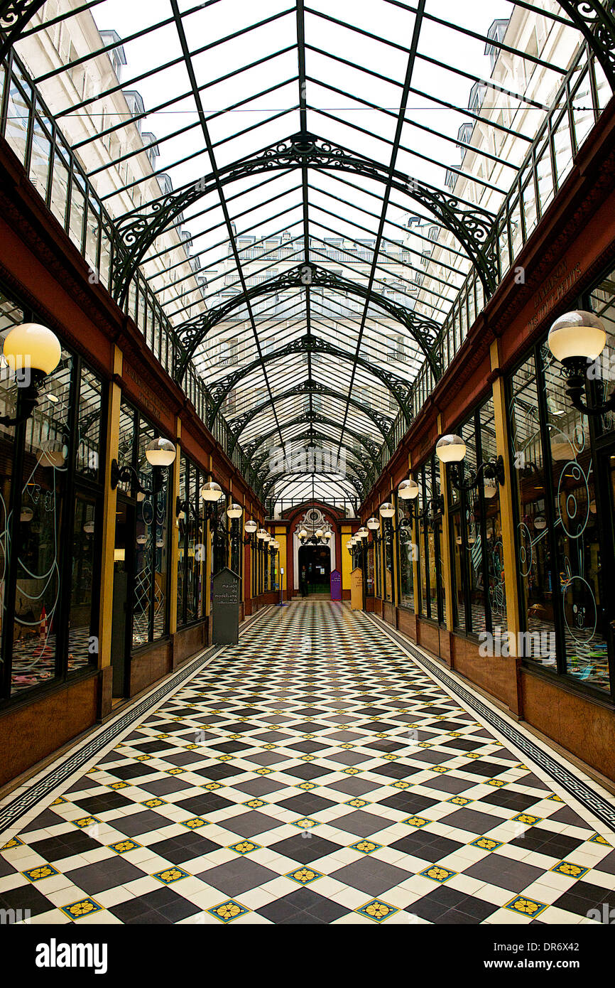 Historic covered arcade in Paris, France - Stock Image