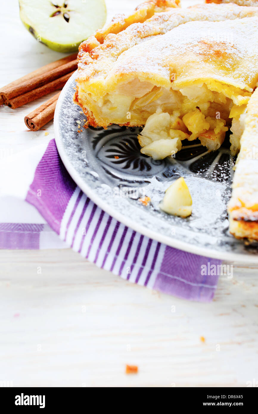 golden apple pie, food closeup - Stock Image