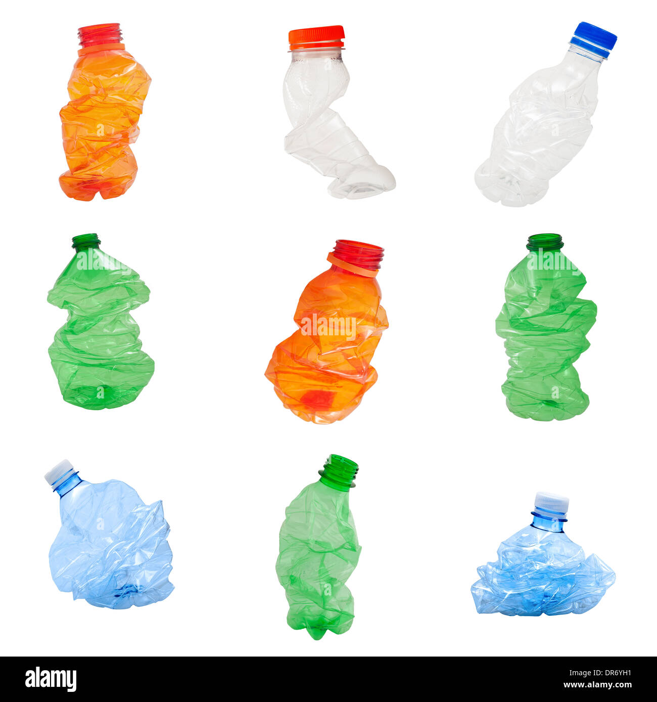 Plastic bottles isolated on white background, recycle concept - Stock Image