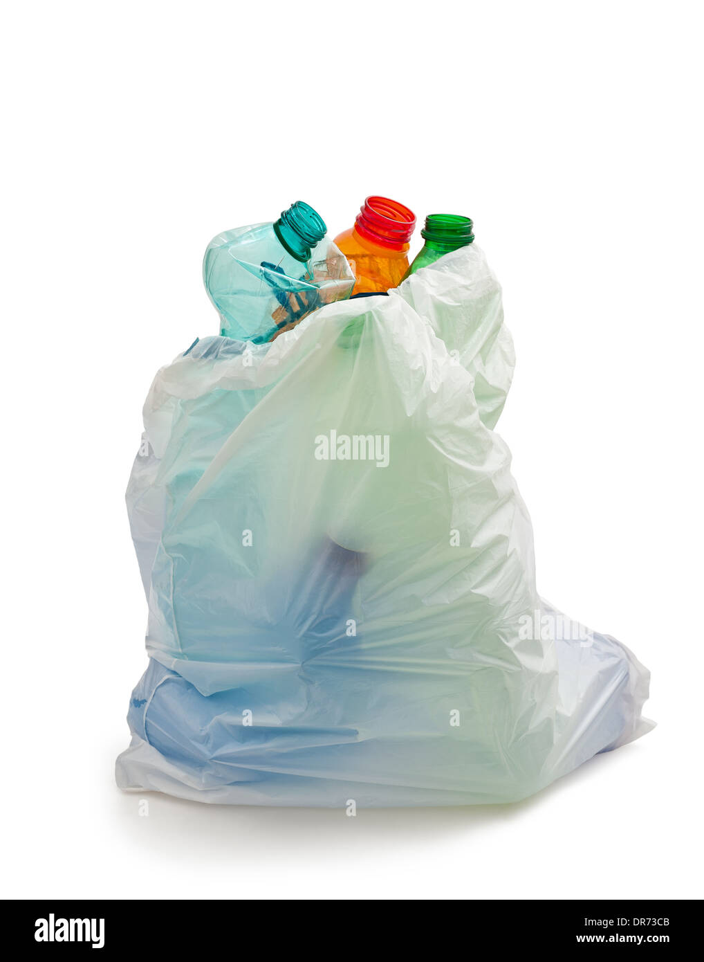 garbage bag with plastic bottles,recycling concept - Stock Image