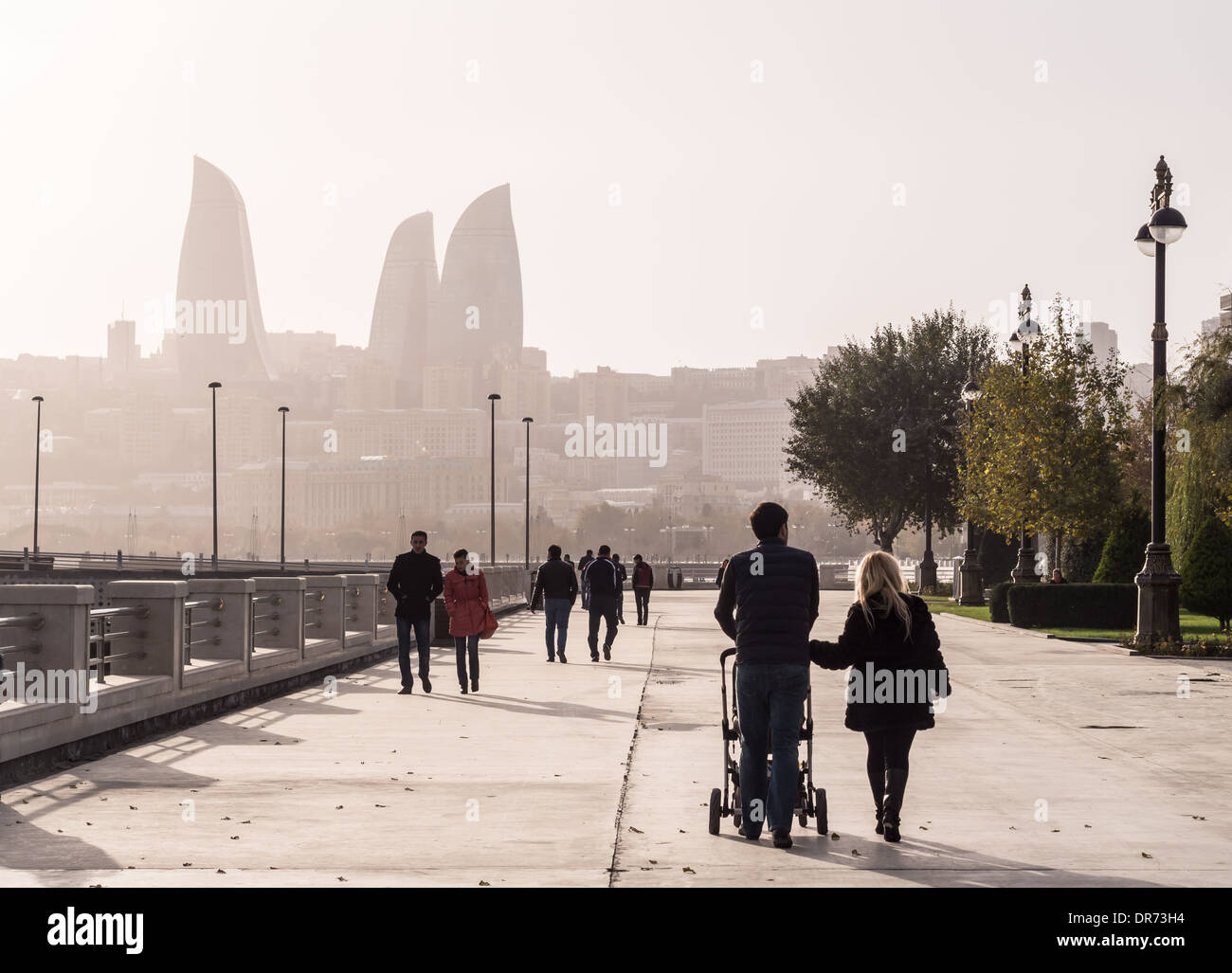 Baku Boulevard at sunset. The boulevard was established in 1909 and today is a popular tourist attraction. Stock Photo