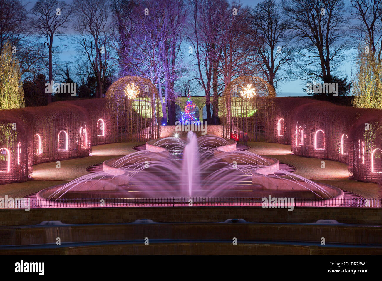 Winter Lighting at Alnwick Gardens and Fountains, Northumberland - Stock Image