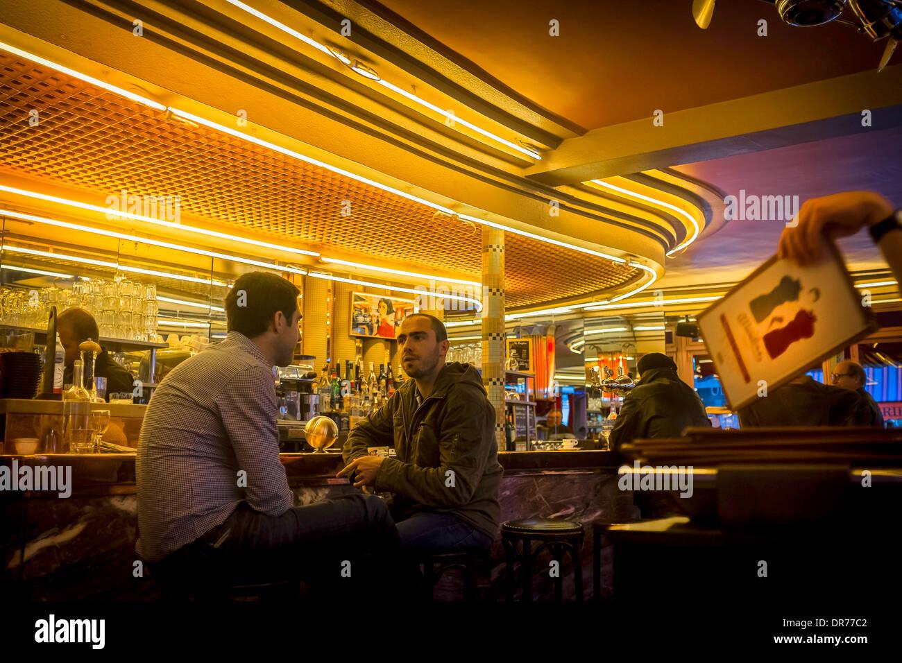 interior of cafe de deux moulins rue lepic montmartre paris france.pigalle.18th arrondissement. - Stock Image