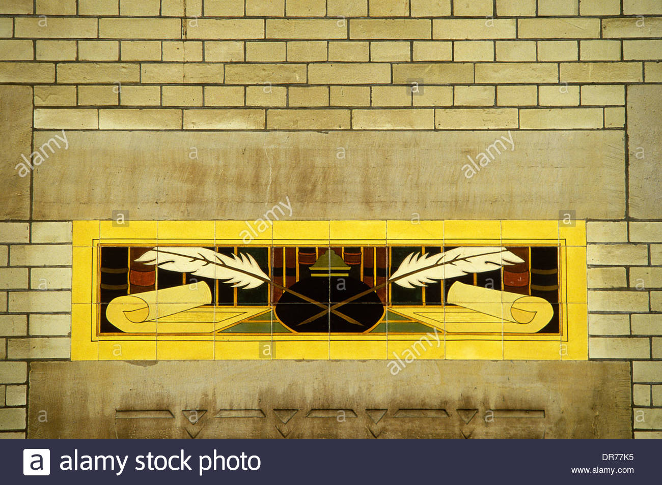 Art Deco tiles on a wall in the train station of Harlem. Netherlands ...