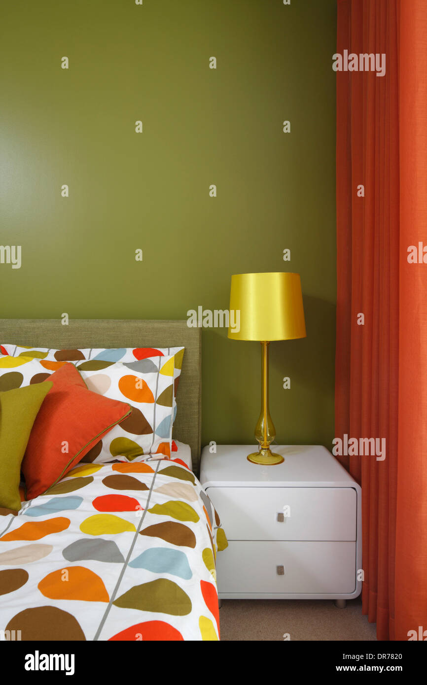 Olive Green Bedroom With Orange Curtains And Orla Kiely Bedding Great Suffolk Street