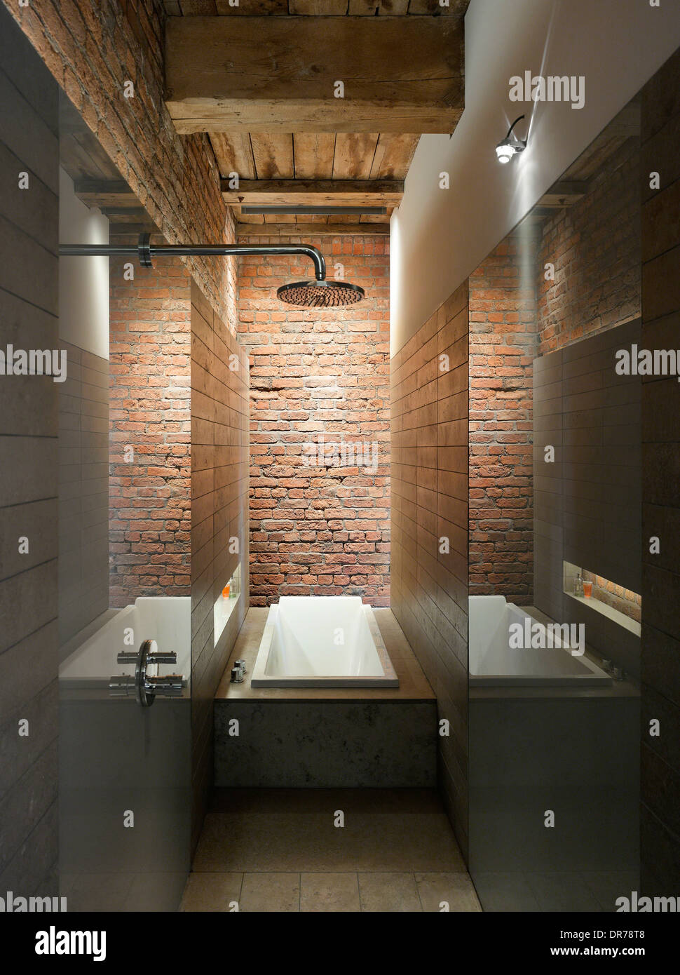 Shower and bathtub in bathroom, Albert Mill, Manchester, Greater ...
