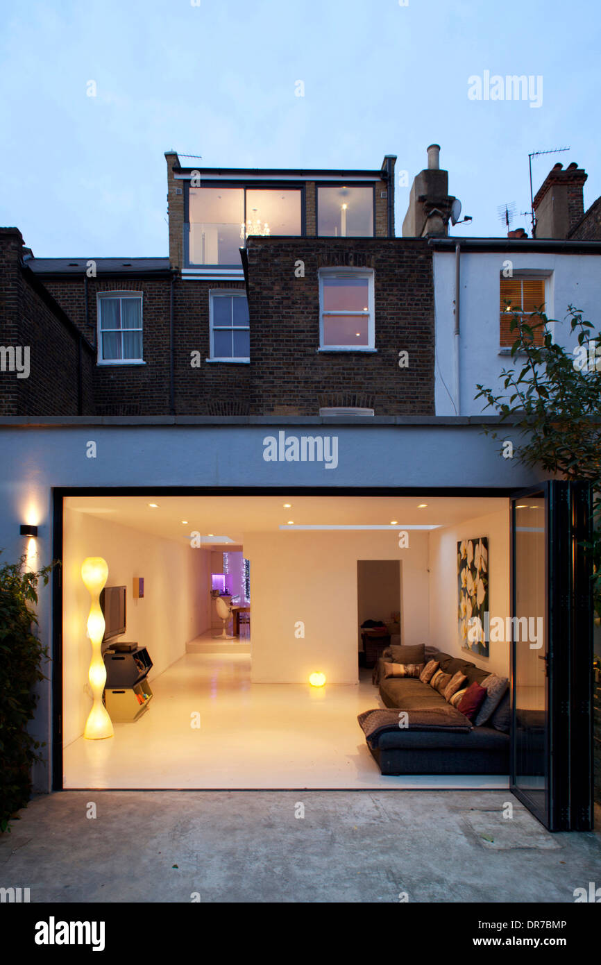 Highbury Contemporary House Conversion Exterior Rear View Sliding