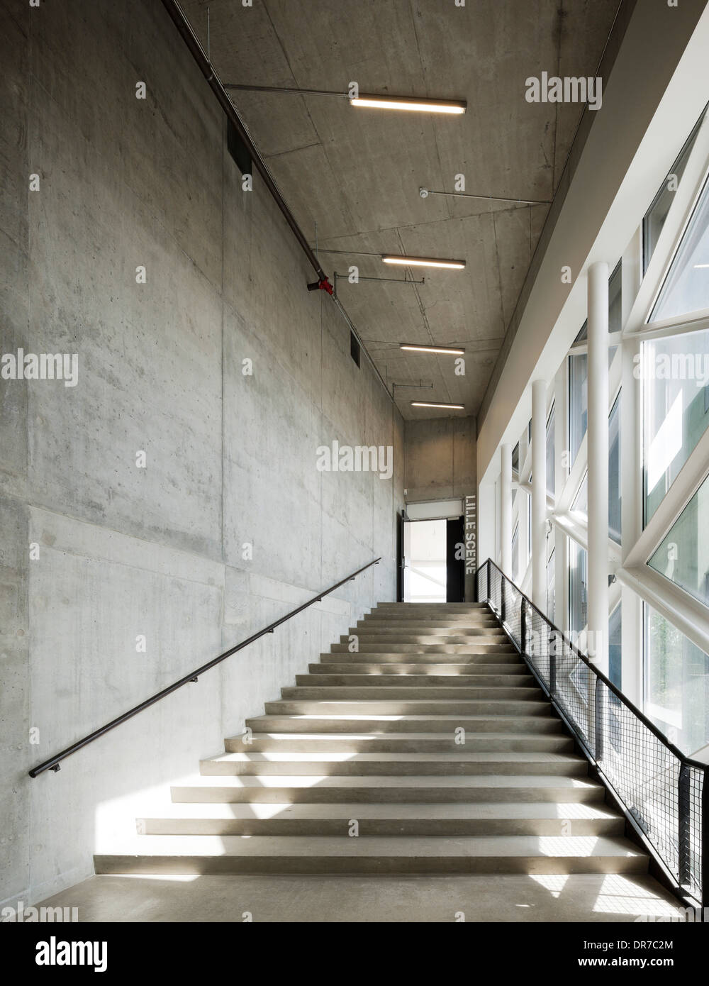 Interior view of The Culture Yard, Concrete stairs, Elsinore, Denmark - Stock Image
