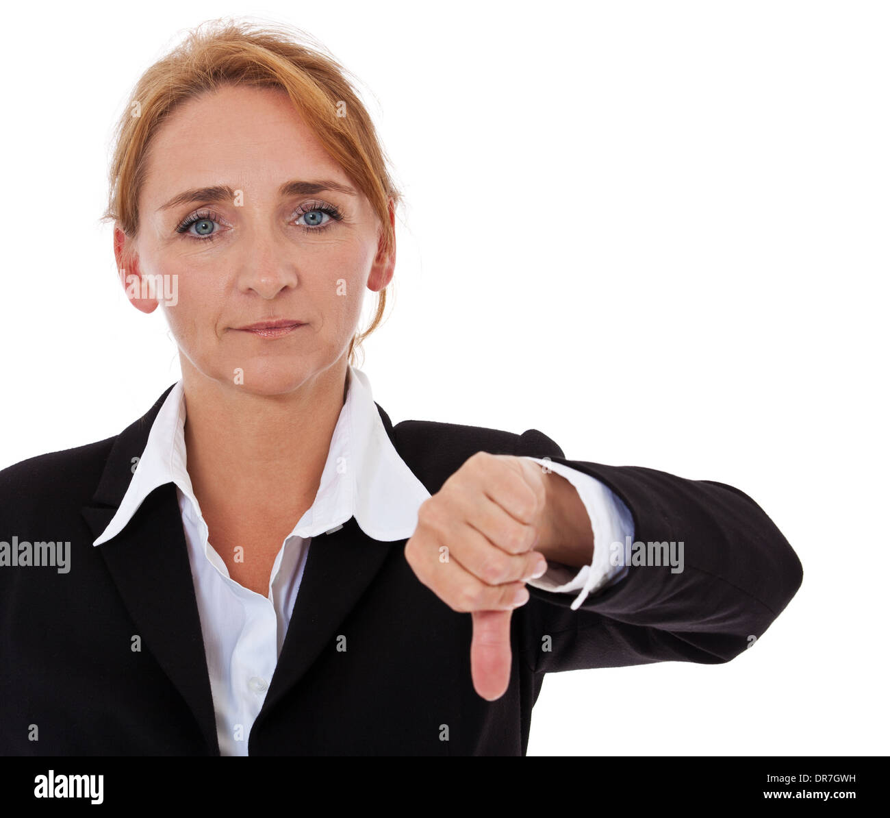 Businesswoman showing thumbs down. All on white background. - Stock Image