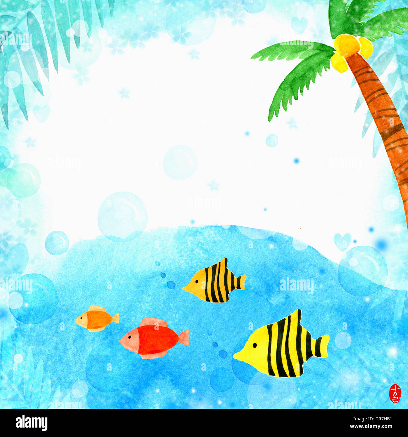 illustration memo template of under the sea theme stock photo