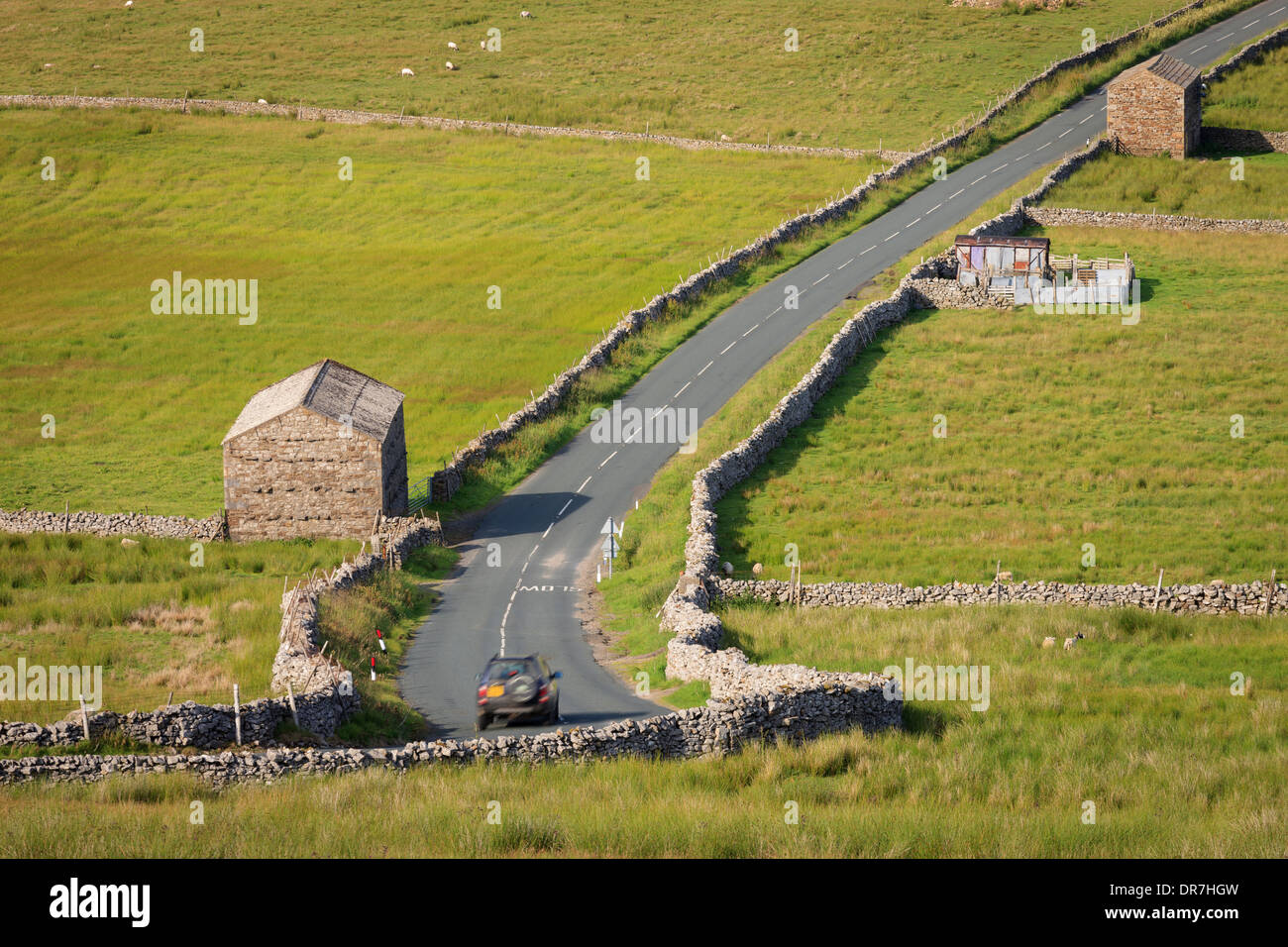 Muker and Swaledale from Buttertubs Pass road Yorkshire Dales National Park Richmondshire North Yorkshire England - Stock Image