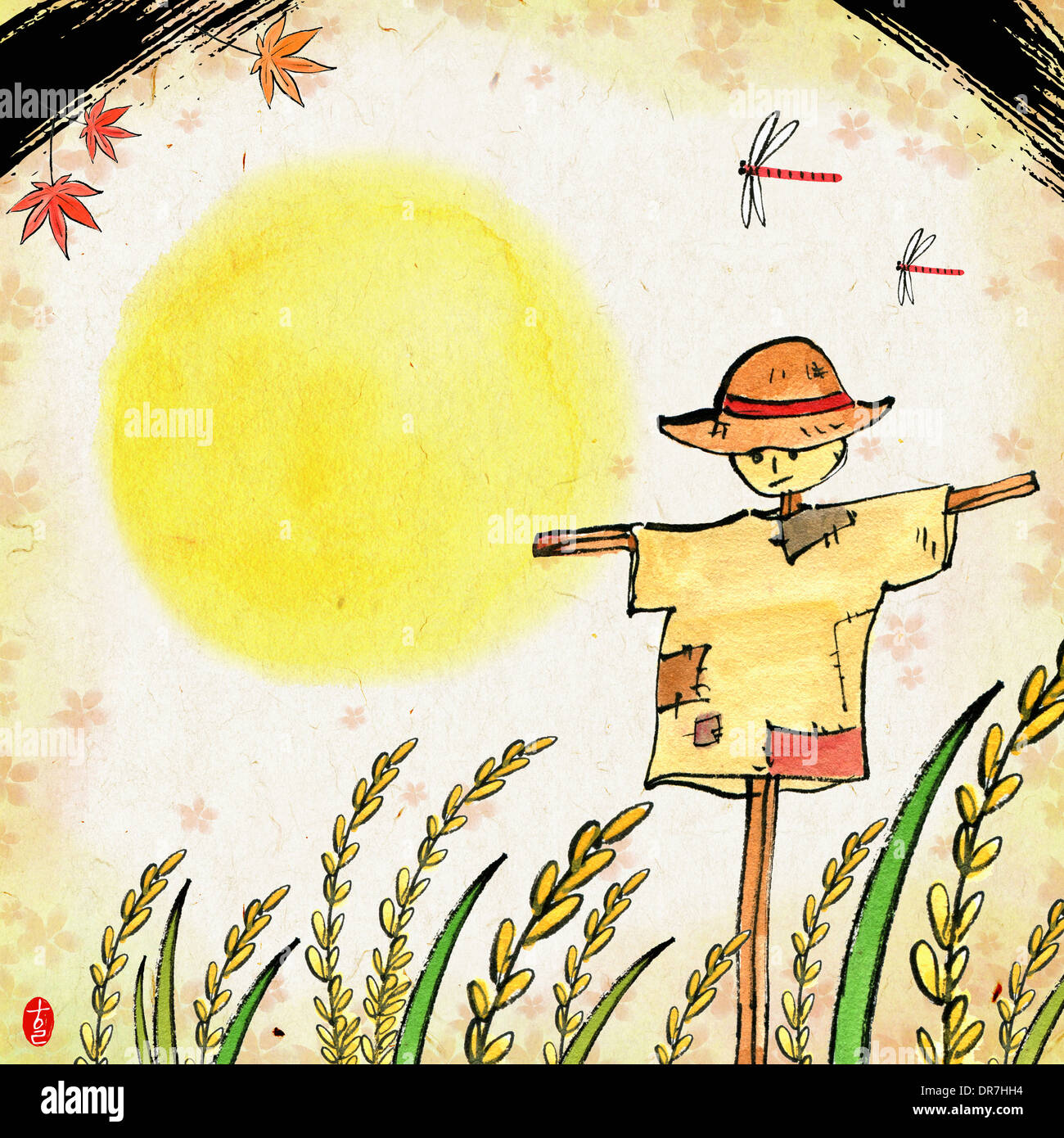 Template Chuseok Korea Tradition Moon Scarecrow Stock Photos ...